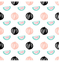 Watermelon berry seamless pattern vector