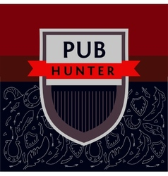 Pub hunter logo and background with the image of vector