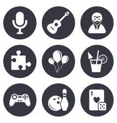 Game bowling and puzzle icons entertainment vector