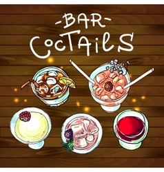 Coctails bar top view vector