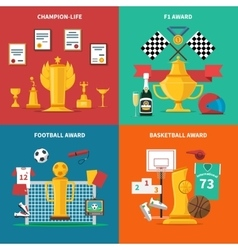 Sport awards icons set vector