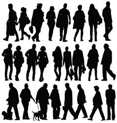 people silhouette walking vector image
