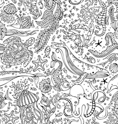 Seamless pattern of underwater wild animals and vector