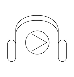 Headphones and media player icon outline style vector image