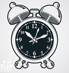 Alarm clock 3d black and white wake up conc vector