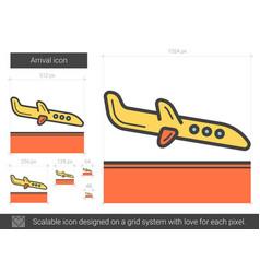 Arrival line icon vector