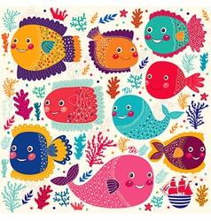 Artistic sealife background vector