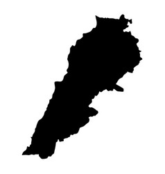 black silhouette country borders map of lebanon vector image
