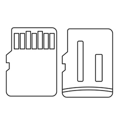 Both sides of sd memory card icon outline style vector
