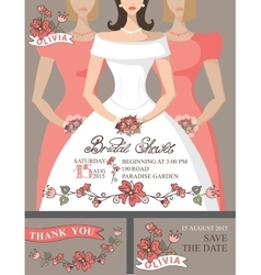 Bridal shower invitation setbridebridesmaids vector