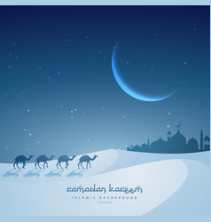 Camel walking towards masjid ramadan kareem vector
