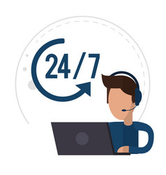 character male call center support 24-7 vector image