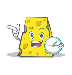 Cheese character cartoon style with clock vector
