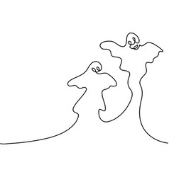 Continuous line drawing of ghost cartoon halloween vector