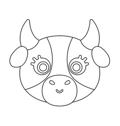 Cow muzzle icon in outline style isolated on white vector