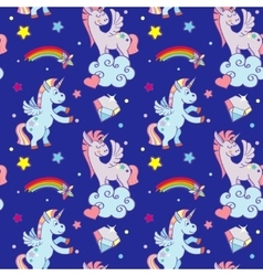 Cute unicorns clouds rainbow magic wand vector