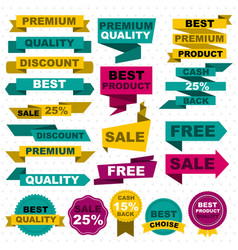 Flat colorful sale design elements set vector