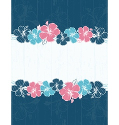 frame of hibiscus on blue background vector image vector image