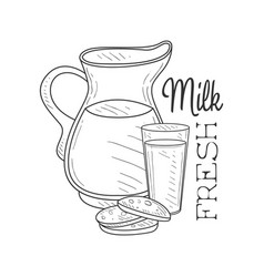 fresh milk product promo sign in sketch style with vector image