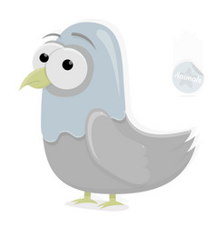 funny dove character on a white background vector image vector image
