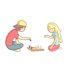 Girl and guy playing chess vector