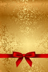 gold texture with red bow vector image