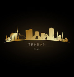 Golden logo tehran uae city skyline silhouette vector