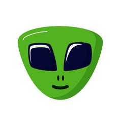 Green stranger smiling alien life ufo space vector