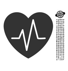 Heart ekg icon with people bonus vector