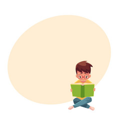 little boy kid in glasses reading book sitting vector image
