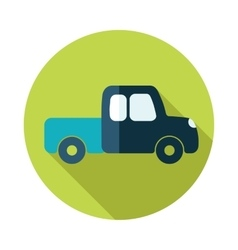 Pickup truck flat icon with long shadow vector