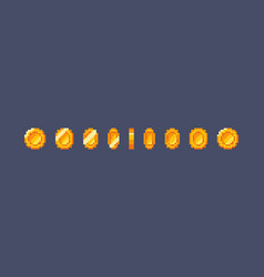 pixel gold coin animation vector image vector image