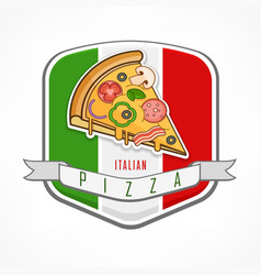 Pizza sticker on white vector