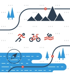 Running cycling and swimming sports icons vector