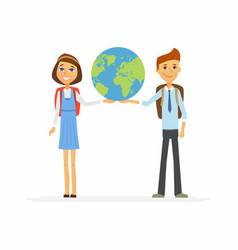 school children - characters of happy boy girl vector image vector image