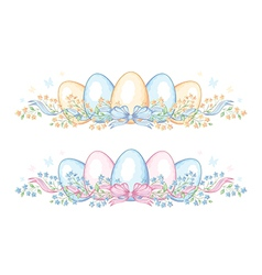 Set of easter borders with eggs and ribbon vector image vector image