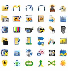 set of multimedia internet icons vector image