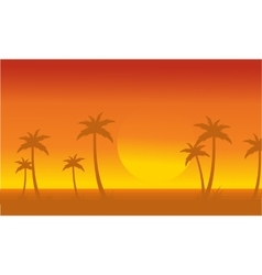 Silhouette of palm with big sun scenery vector