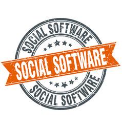 Social software round grunge ribbon stamp vector