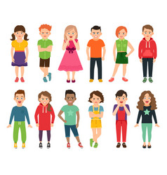standing boys and girls vector image vector image