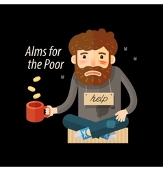 Street beggar unemployed or homeless icon alms vector