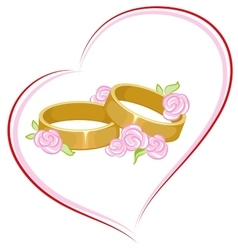 Wedding engagement rings with flowers vector