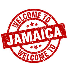 Welcome to jamaica red stamp vector
