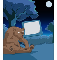 Wood platewith bear vector