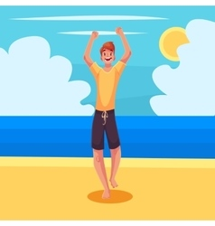 Young barefooted man in sun glassses dancing vector