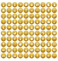 100 preschool education icons set gold vector