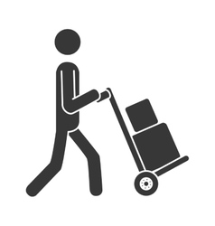 Courier wheelbarrow box icon vector