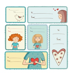Gift tags with love on white background vector image