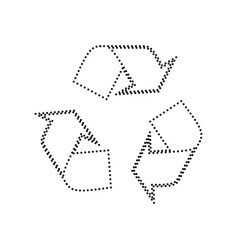 Recycle logo concept  black dotted icon on vector