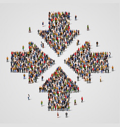 Large group of people in the convergent arrows vector
